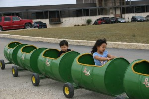 Claire and Gavin enjoy a barrel ride