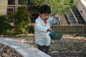 Gavin on the egg hunt
